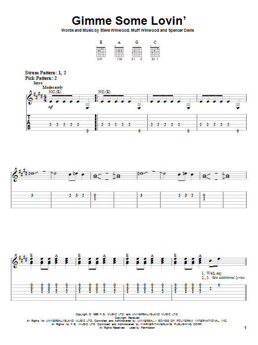 The Spencer Davis Group Gimme Some Lovin' sheet music notes printable PDF score