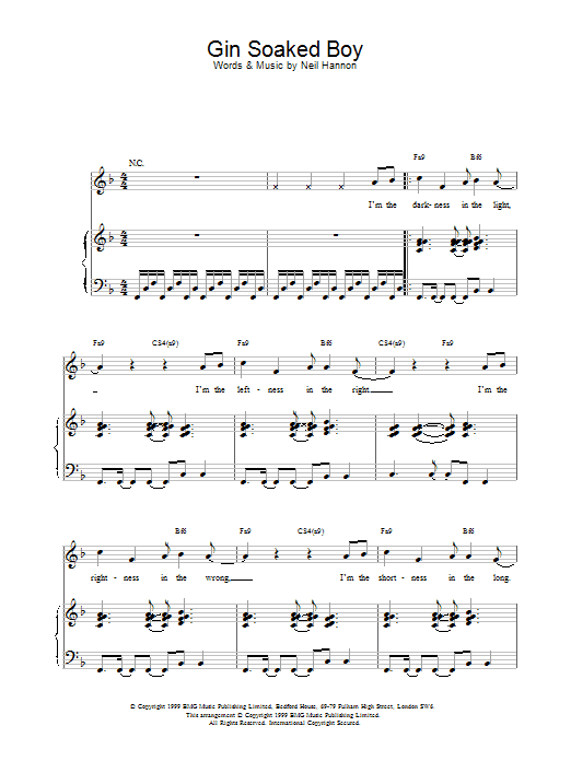 The Divine Comedy Gin Soaked Boy sheet music notes printable PDF score