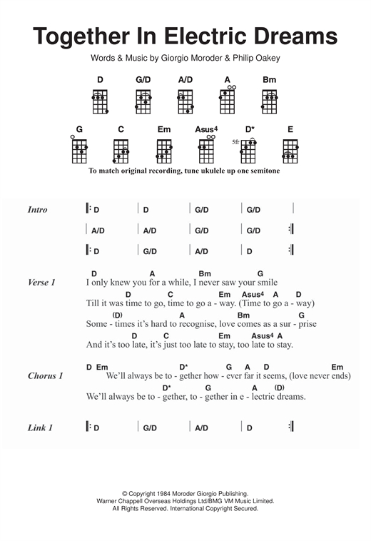 Giorgio Moroder & Philip Oakey Together In Electric Dreams sheet music notes and chords. Download Printable PDF.