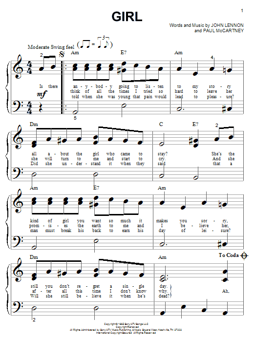 The Beatles Girl sheet music notes printable PDF score