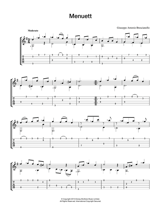 Giuseppe Antonio Brescianello Menuett sheet music notes and chords. Download Printable PDF.