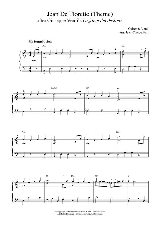 Giuseppe Verdi Jean De Florette sheet music notes printable PDF score