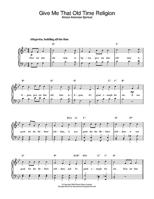 African-American Spiritual Give Me That Old Time Religion sheet music notes printable PDF score