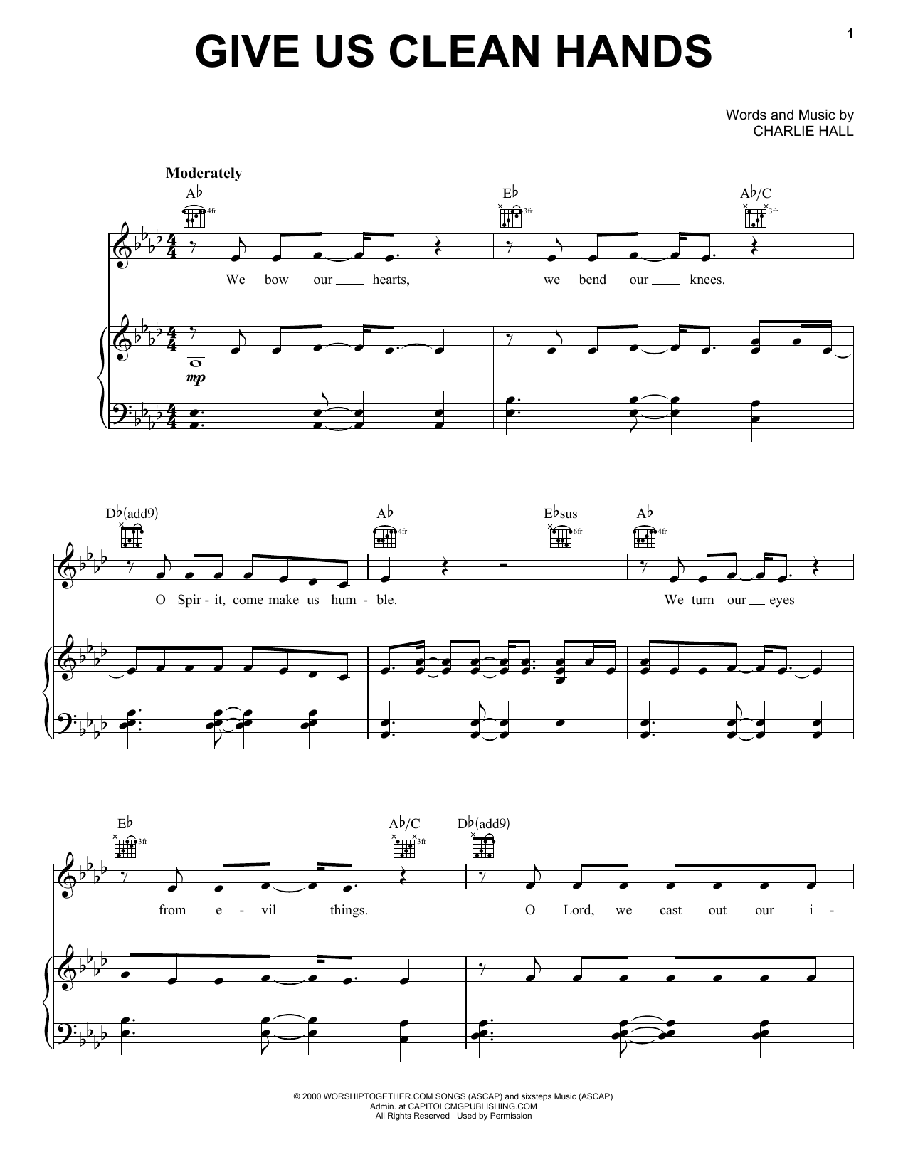 Chris Tomlin Give Us Clean Hands sheet music notes printable PDF score