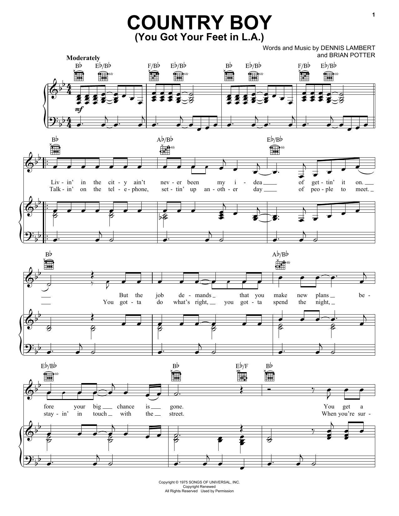 Glen Campbell Country Boy (You Got Your Feet In L.A.) sheet music notes and chords - download printable PDF.