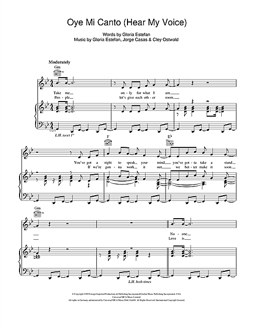 Gloria Estefan Oye Mi Canto (Hear My Voice) sheet music notes and chords. Download Printable PDF.