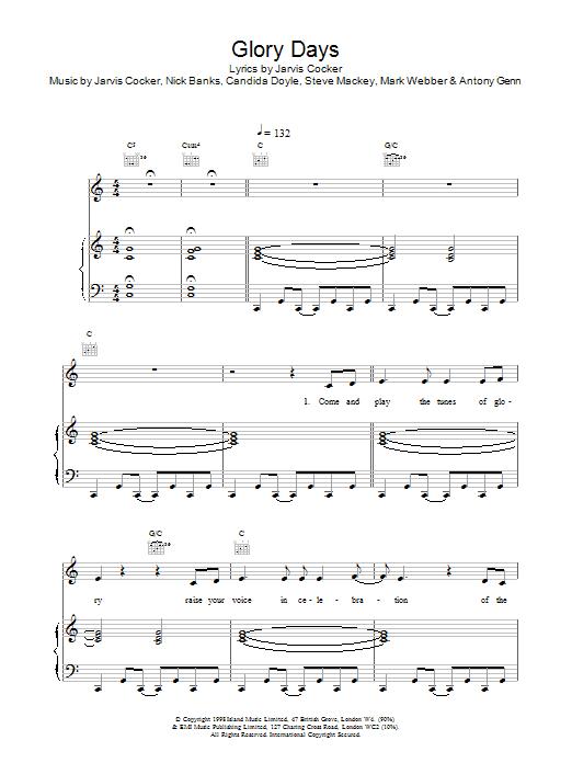 Pulp Glory Days sheet music notes printable PDF score