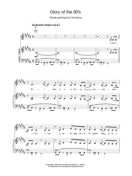 Tori Amos Glory of the 80s sheet music notes printable PDF score