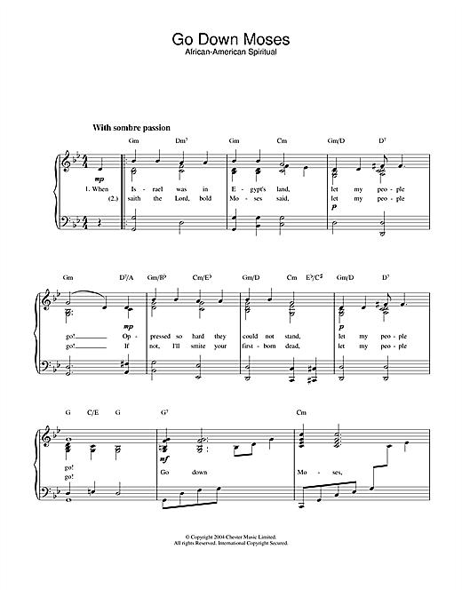 African-American Spiritual Go Down Moses sheet music notes printable PDF score