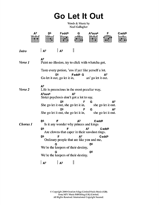 Oasis Go Let It Out sheet music notes printable PDF score
