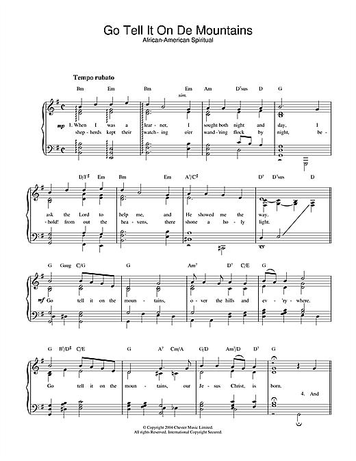 African-American Spiritual Go Tell It On De Mountains sheet music notes printable PDF score