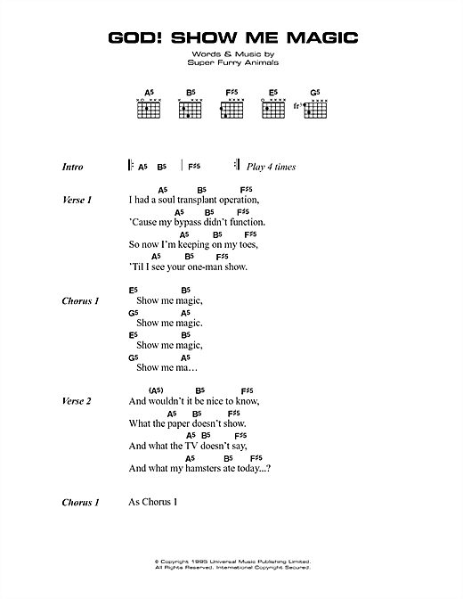 Super Furry Animals God! Show Me Magic sheet music notes printable PDF score