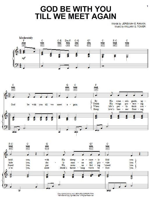 Jeremiah E. Rankin God Be With You Till We Meet Again sheet music notes printable PDF score