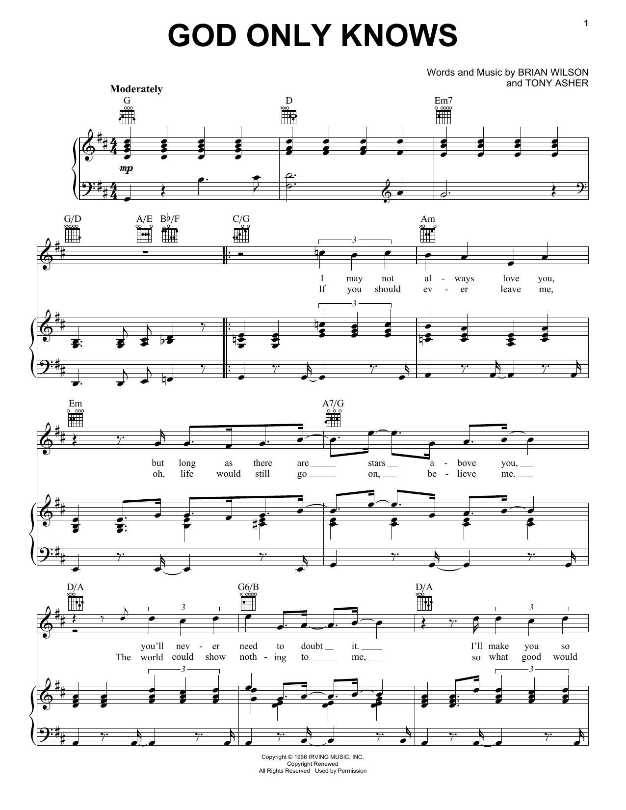 The Beach Boys God Only Knows sheet music notes printable PDF score