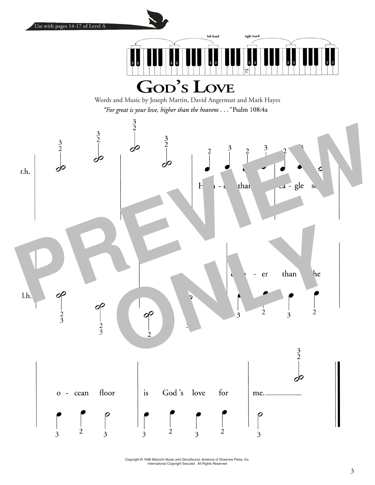 Joseph Martin, David Angerman and Mark Hayes God's Love sheet music notes printable PDF score