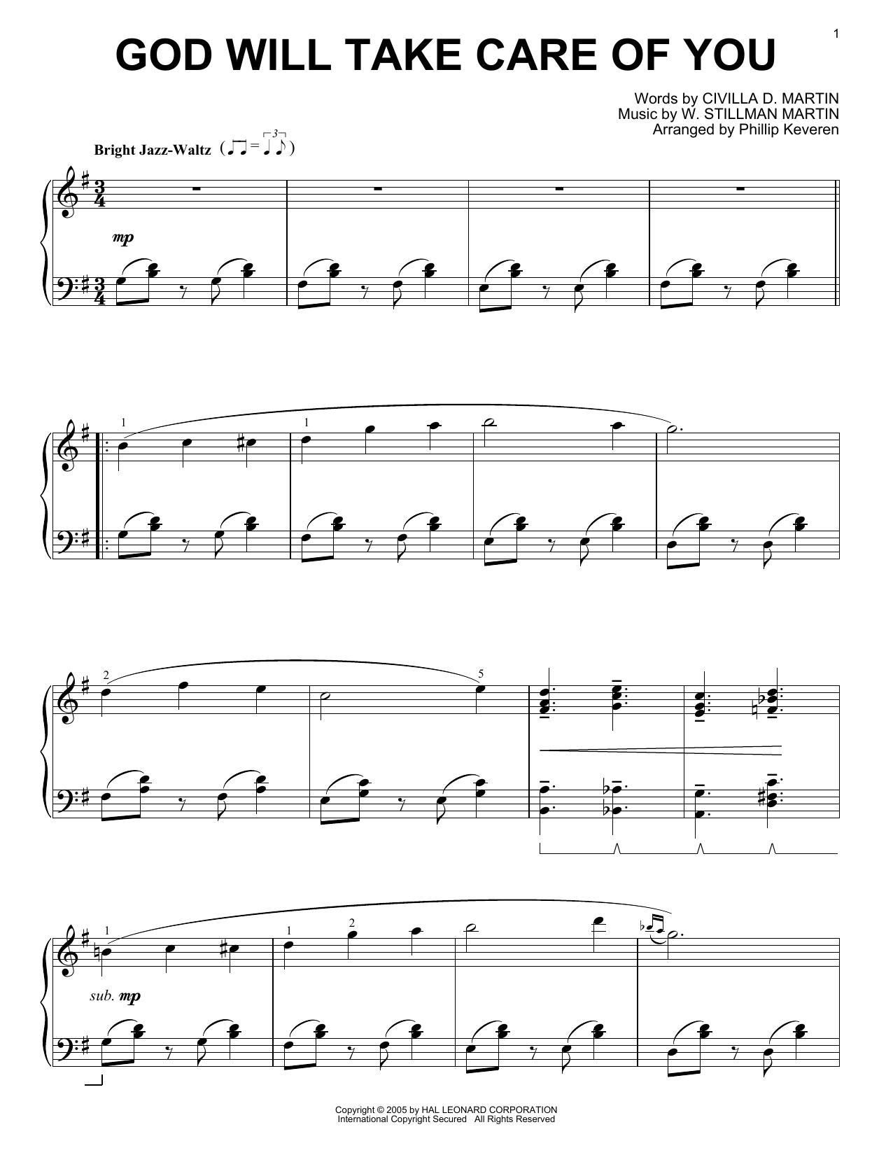 W. Stillman Martin God Will Take Care Of You [Jazz version] (arr. Phillip Keveren) sheet music notes printable PDF score