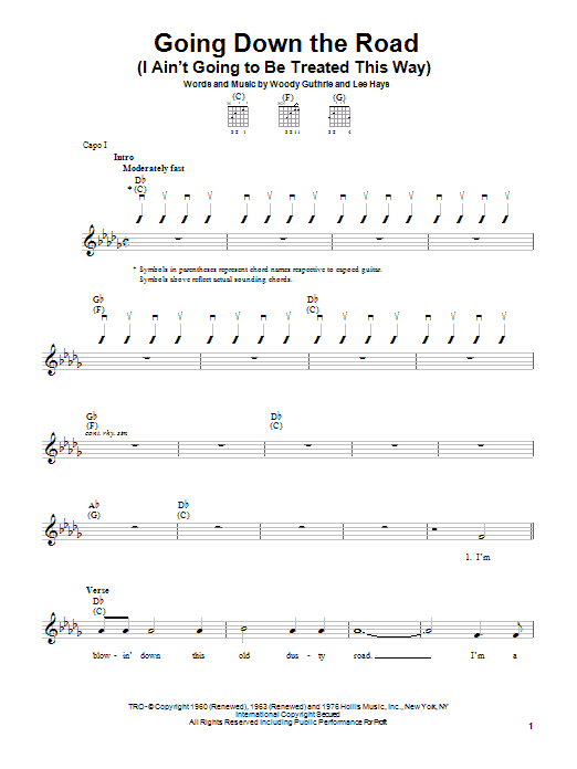 Woody Guthrie Going Down The Road (I Ain't Going To Be Treated This Way) sheet music notes printable PDF score