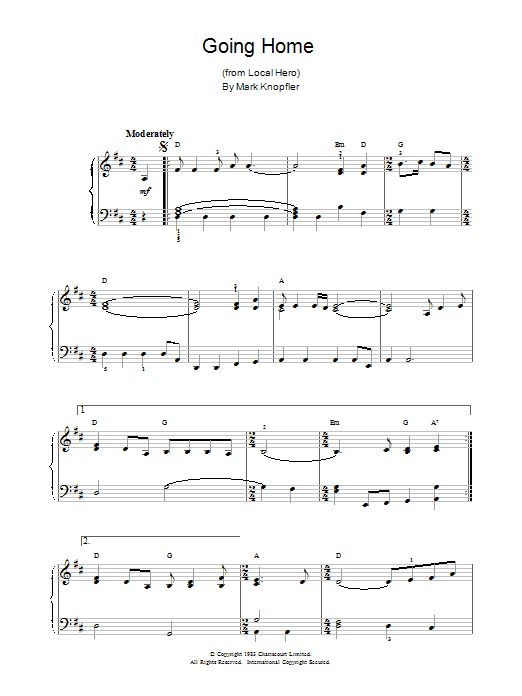 Mark Knopfler Going Home (theme from Local Hero) sheet music notes printable PDF score