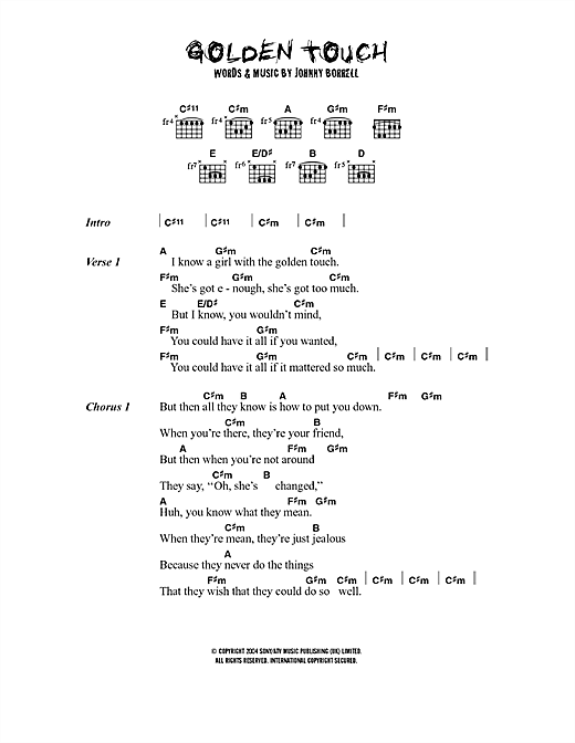 Razorlight Golden Touch sheet music notes printable PDF score