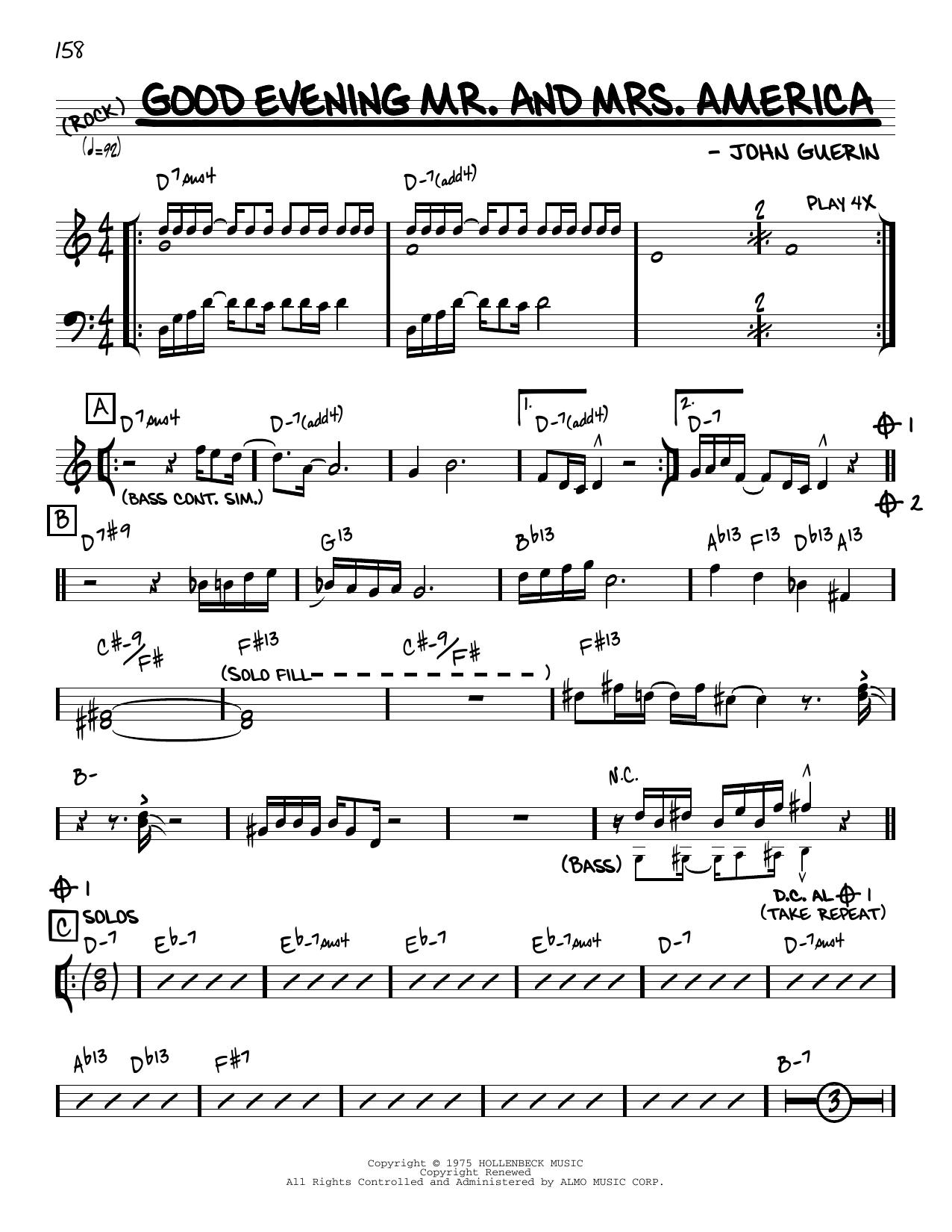 John Guerin Good Evening Mr. And Mrs. America [Reharmonized version] (arr. Jack Grassel) sheet music notes printable PDF score