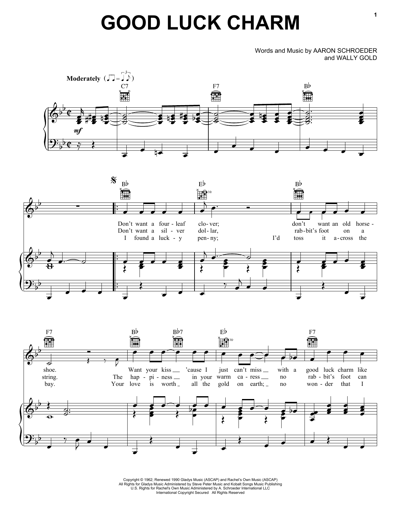 Elvis Presley Good Luck Charm sheet music notes printable PDF score