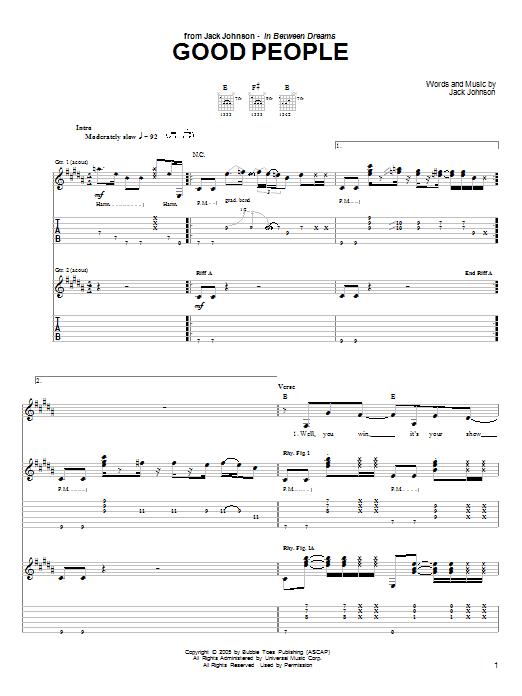 Jack Johnson Good People sheet music notes printable PDF score