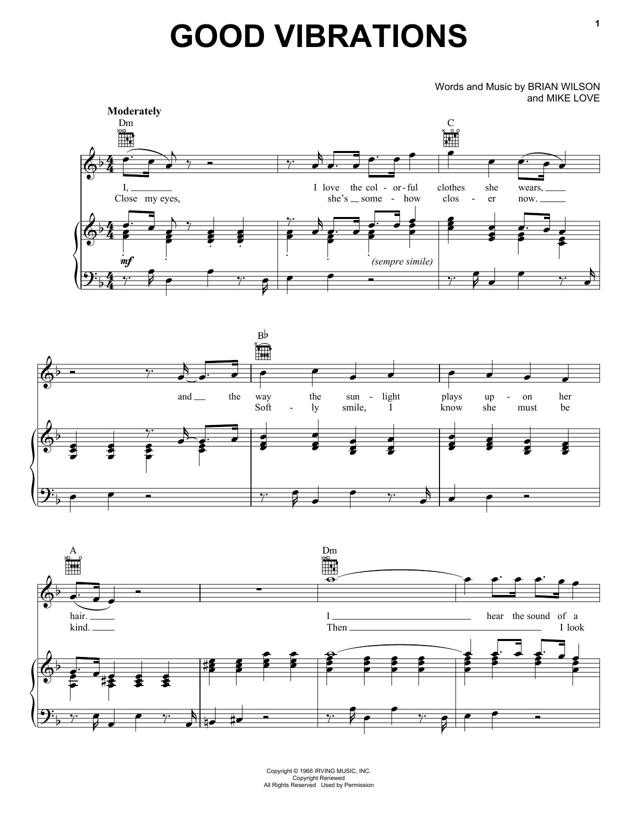 The Beach Boys Good Vibrations sheet music notes printable PDF score