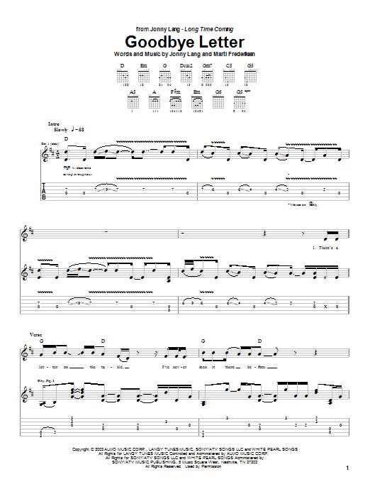 Jonny Lang Goodbye Letter sheet music notes printable PDF score