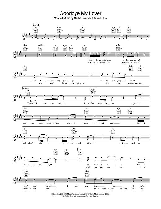 James Blunt Goodbye My Lover sheet music notes printable PDF score