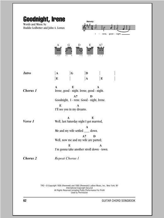 Peter, Paul & Mary Goodnight, Irene sheet music notes printable PDF score