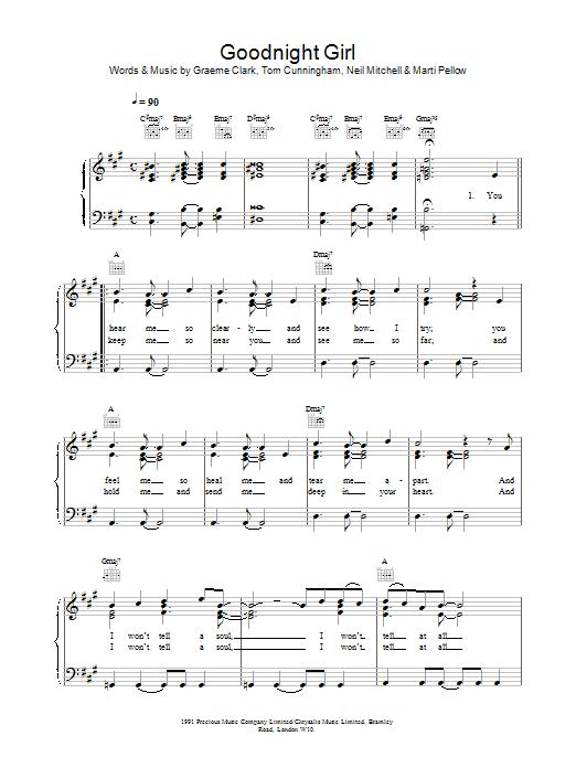 Wet Wet Wet Goodnight Girl sheet music notes printable PDF score