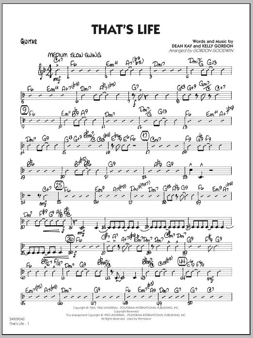 Gordon Goodwin That's Life - Guitar sheet music notes printable PDF score