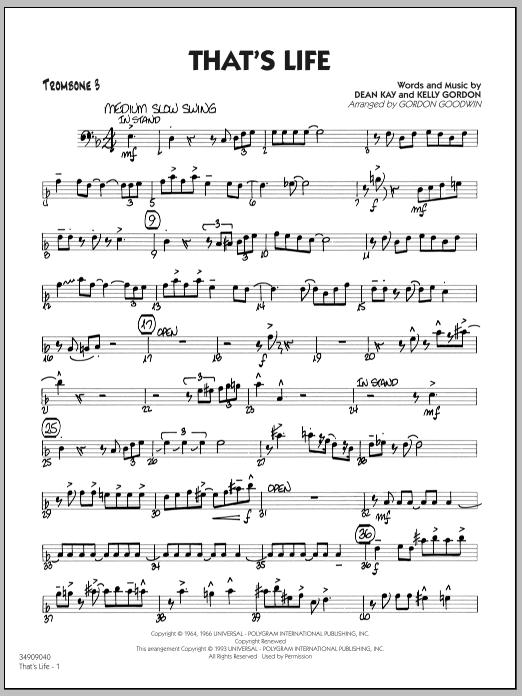 Gordon Goodwin That's Life - Trombone 3 sheet music notes printable PDF score