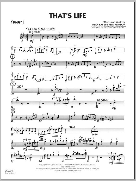 Gordon Goodwin That's Life - Trumpet 1 sheet music notes printable PDF score