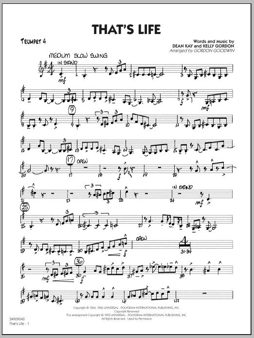 Gordon Goodwin That's Life - Trumpet 4 sheet music notes printable PDF score