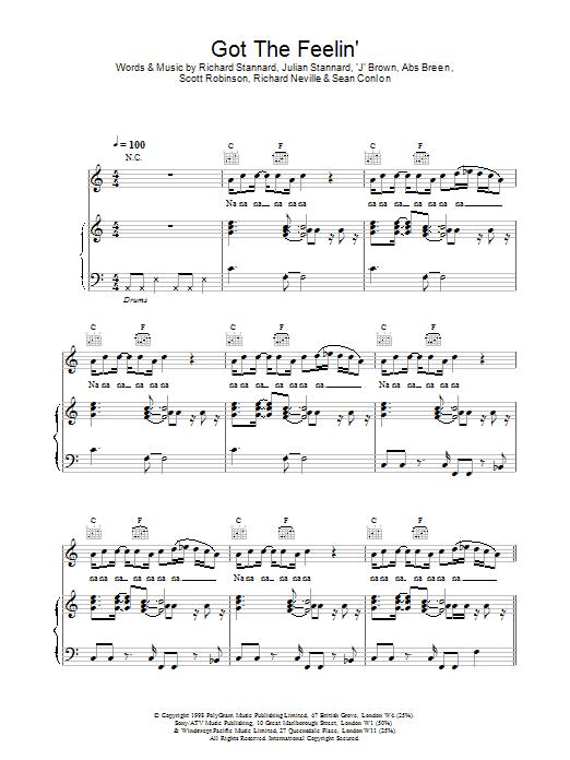 Five Got The Feelin' sheet music notes printable PDF score