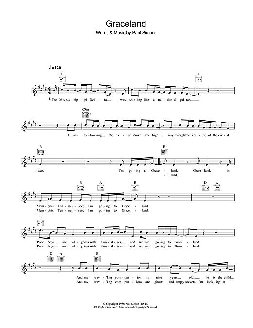 Paul Simon Graceland sheet music notes printable PDF score