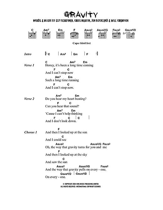Embrace Gravity sheet music notes printable PDF score