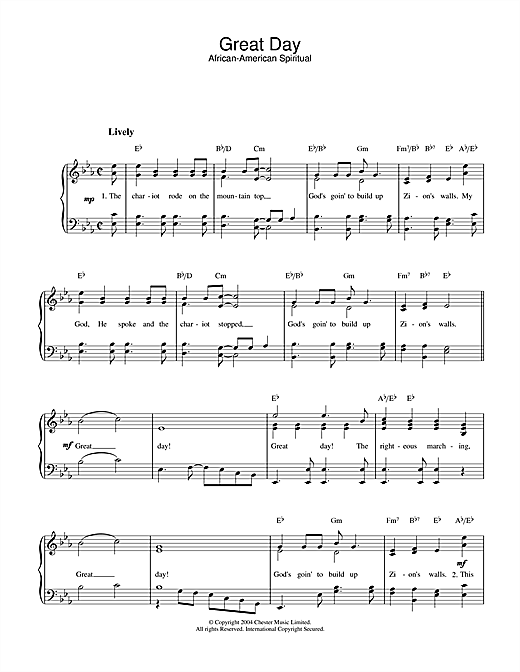 African-American Spiritual Great Day sheet music notes printable PDF score
