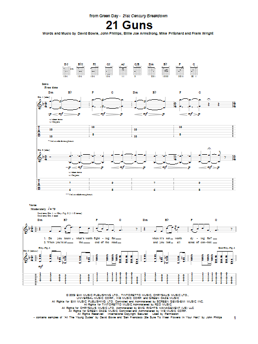 Green Day 21 Guns sheet music notes and chords. Download Printable PDF.