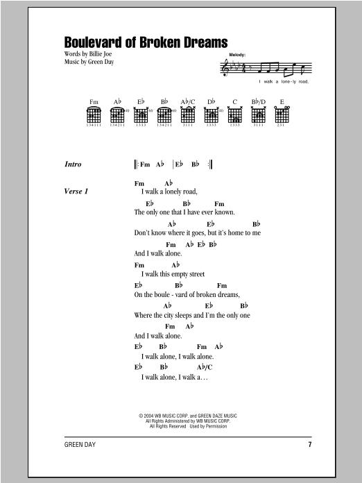 Green Day Boulevard Of Broken Dreams sheet music notes and chords. Download Printable PDF.
