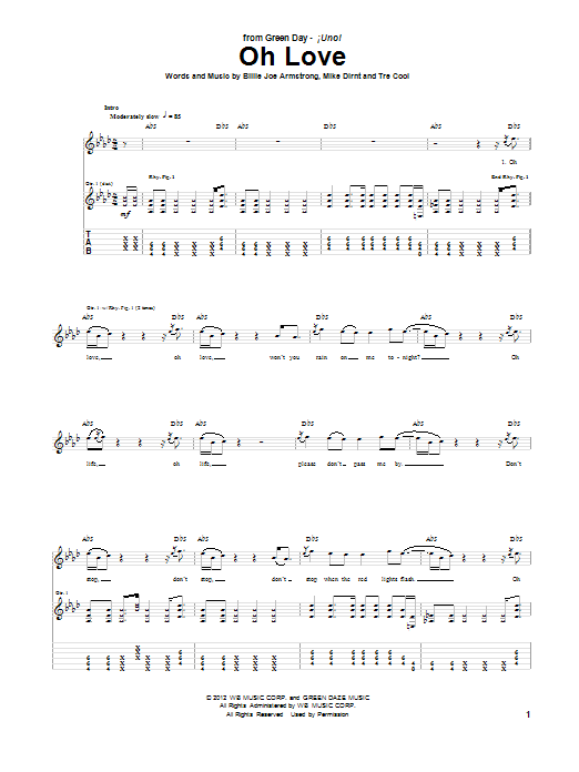 Green Day Oh Love sheet music notes and chords. Download Printable PDF.