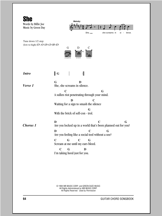 Green Day She sheet music notes and chords. Download Printable PDF.