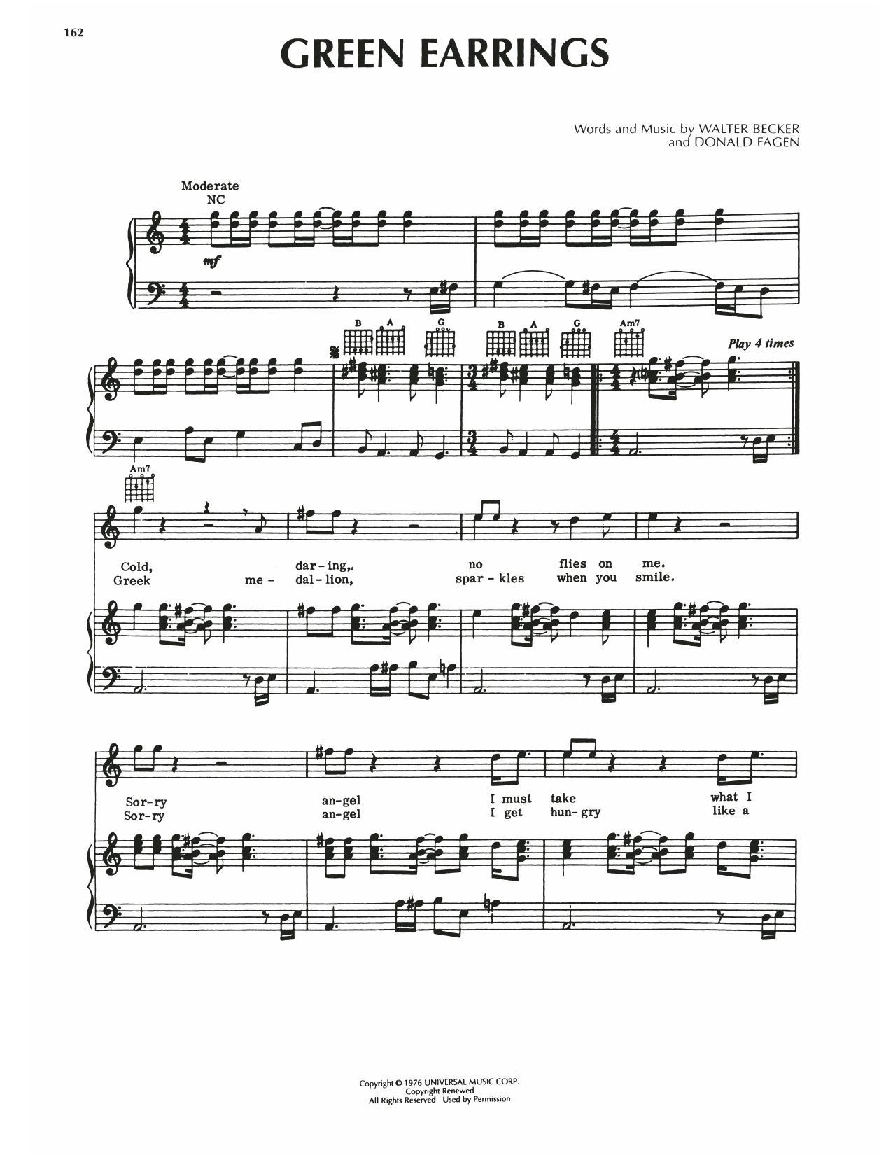 Steely Dan Green Earrings sheet music notes printable PDF score