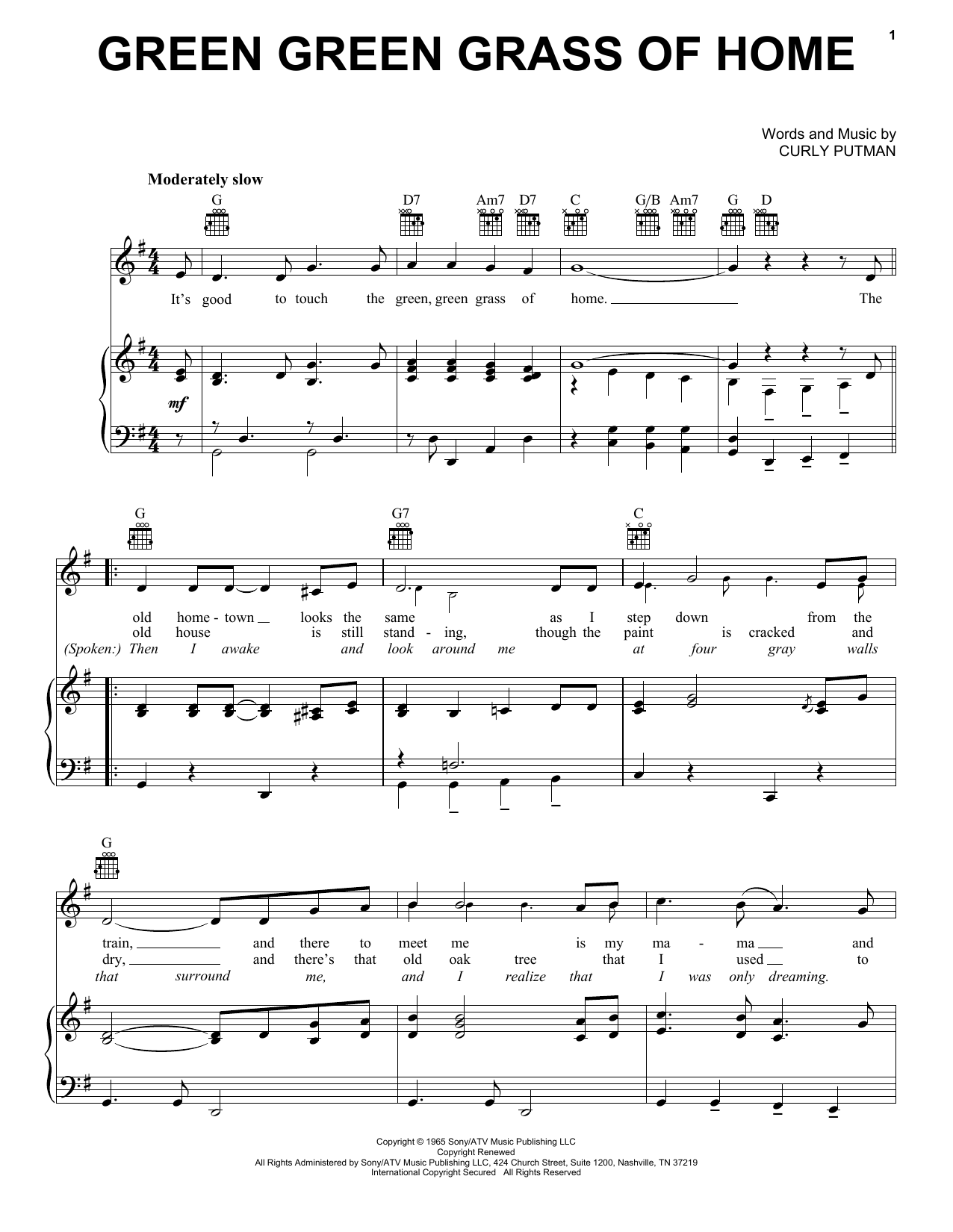 Porter Wagoner Green Green Grass Of Home sheet music notes printable PDF score