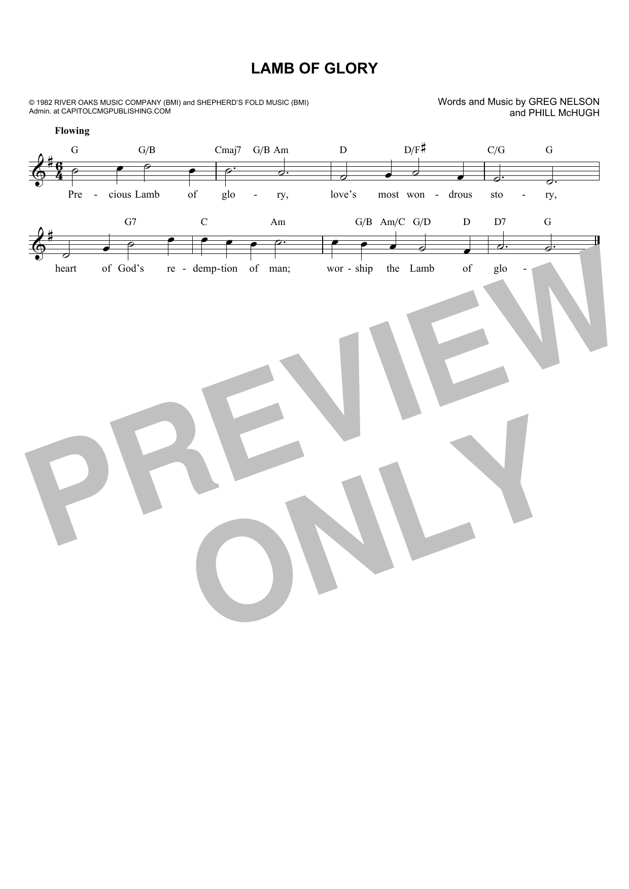 Greg Nelson Lamb Of Glory sheet music notes and chords. Download Printable PDF.