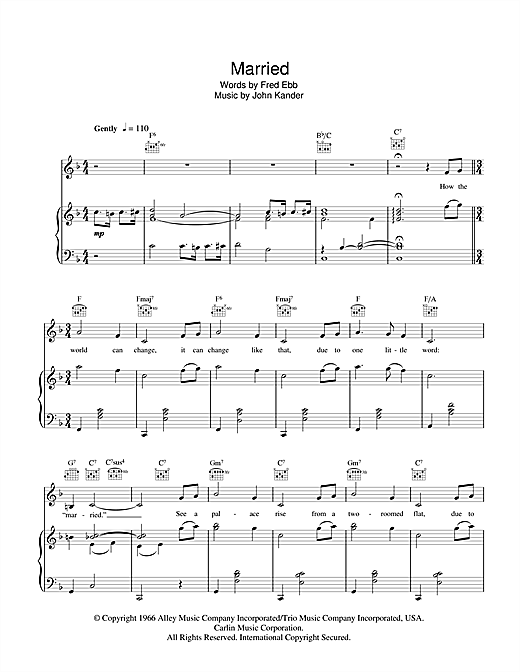 Greta Keller Married (Heiraten) (from Cabaret) sheet music notes and chords. Download Printable PDF.