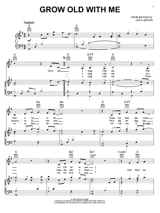 Mary Chapin Carpenter Grow Old With Me sheet music notes printable PDF score