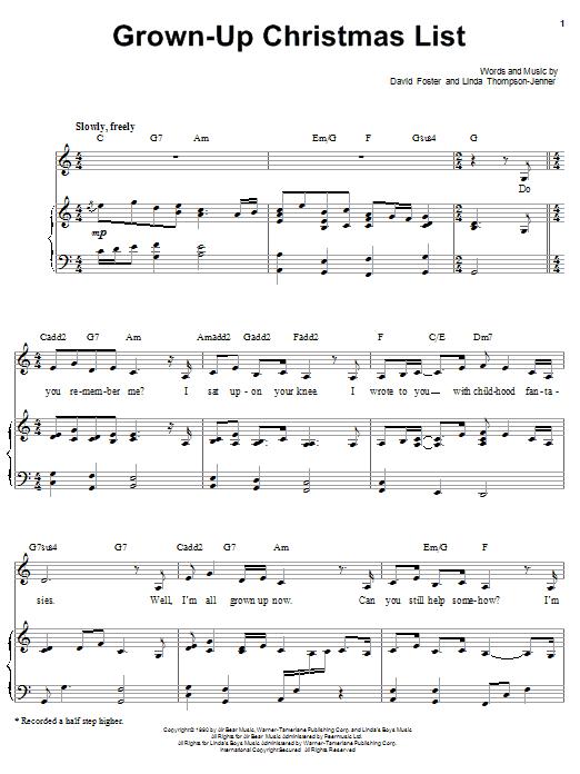 Barbra Streisand Grown-Up Christmas List sheet music notes printable PDF score