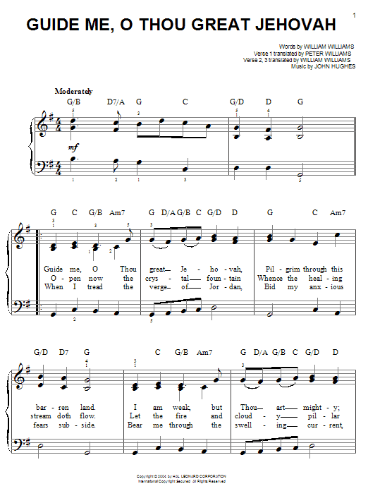 William Williams Guide Me, O Thou Great Jehovah sheet music notes printable PDF score